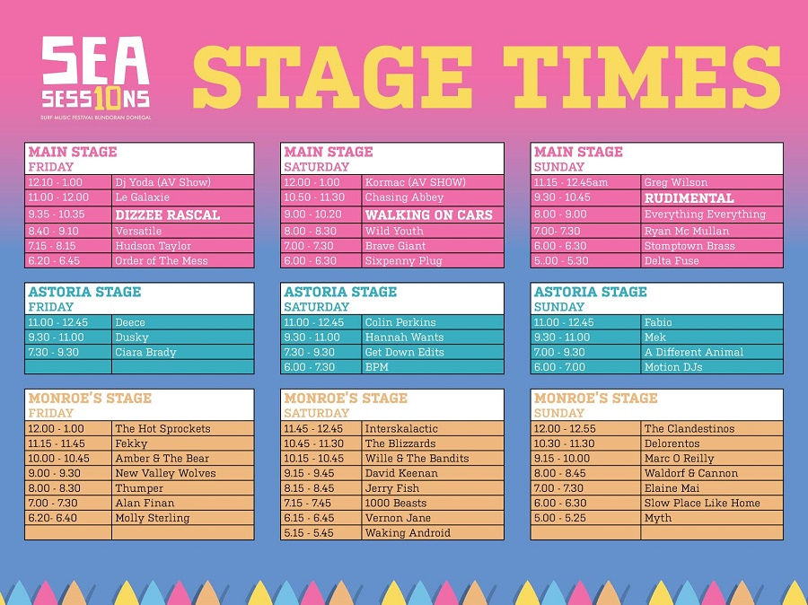 Sea Sessions Announce Stage Times