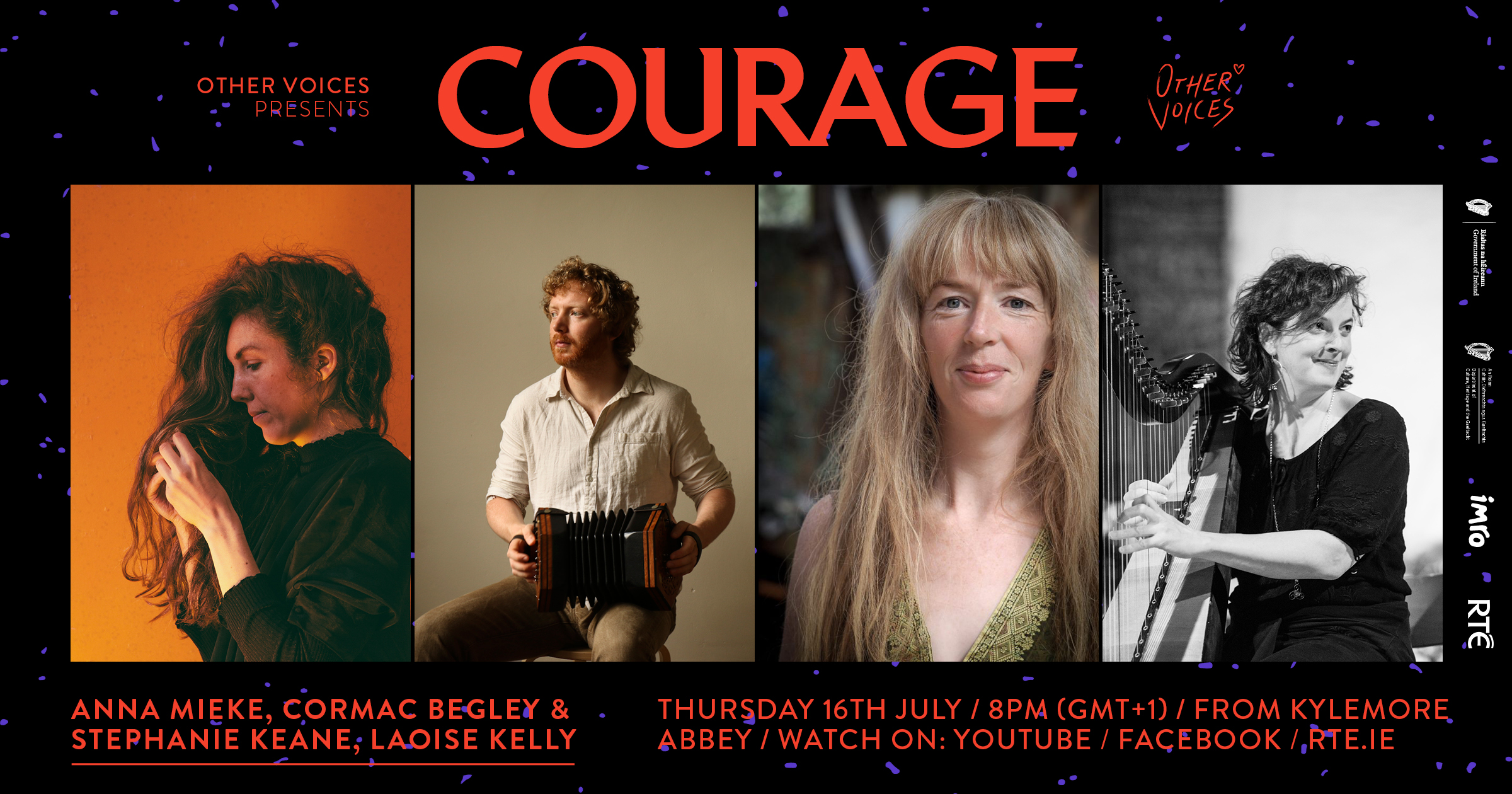 Cormac Begley, Laoise Kelly and Anna Mieke Announced for Courage